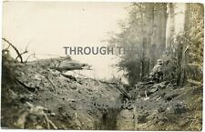 Original WW1 photograph postcard German soldiers trench near Reims France WWI