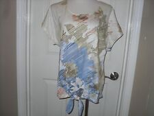 New Chico's Statement Floral Ivy Tie Front Top Blouse Size 3=16/18 XL NWT