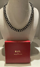 Vintage KJL Gunmetal Necklace With Many Clear Rhinestones