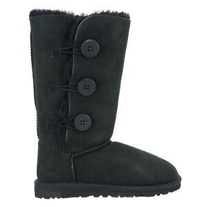 UGG Bailey Button Triplet Black Suede Fur Sheepskin Boots Womens Sz 6 NIB