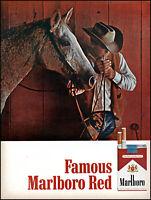 1966 Cowboy Horse Barn Marlboro Red Cigarettes vintage photo print ad adL66