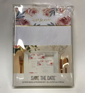 American Crafts 'Save the Date' Menu & Program Cards 25 sets Floral