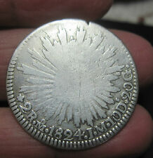 """1824 J.M ) MO (MEXICO ) 2 REALES (SILVER)-- """"HOOK NECK EAGLE """" RARE** ONE YEAR"""