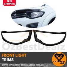 Black front Head Light Trim Cover Protector suits Mitsubishi Triton ML 2006-2014