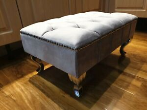 Grey Plush Velvet Pouffe Footstool With Chrome Queen Anne Design Feet