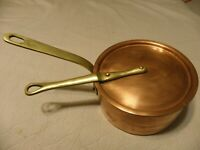 Hammered copper 1 1/2 quart saucepan with lid