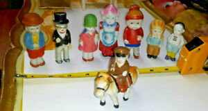 8 VINTAGE JAPAN BISQUE MINIATURE DOLLHOUSE FIGURES CHILDREN PEOPLE & HORSE LOT