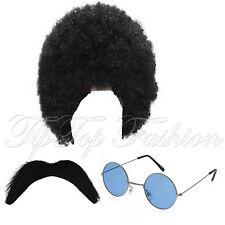 New Mens Hippy Wig Moustache Glasses Fancy Dress 1960s 1970s afro costume black
