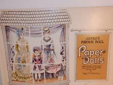 VINTAGE PAPER DOLLS ANTIQUE FRENCH BISQUE TETE JUMEAU POUPEE & DRESS EVERGREEN