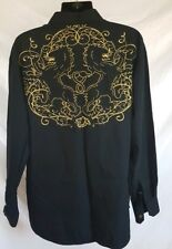 Mens XL Sean John Shirt Full Gold Back Crest Club Black Button Urban Piddy