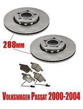 Volkswagen Passat 00-04 Front 288mm Disc Brake Rotors & Brake Pads with Sensor