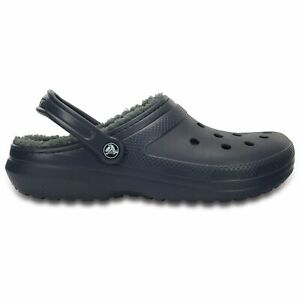 Crocs 203591 CLASSIC LINED Unisex Warm Lined Croslite Clogs Navy/Charcoal
