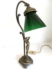 Lamp for Bedside Table Lampshade Table Brass with Woman and Glass