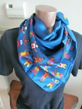 Silk Scarf New Nautical Abstract Retro Vintage Navy  Blue Yellow Red Flags