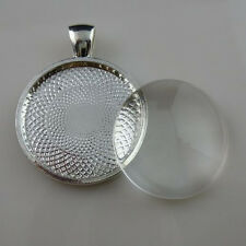 4Sets Alloy Frame Base Setting Pendant + Glass Round 25mm Cameo Jewelry Finding
