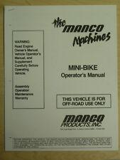 Manco The Machines Mini-Bike Assembly Operation Maintenance Operator Manual