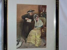 c1882 Original Watercolor Painting Hand Carved Ebony Frame Signed/Dated