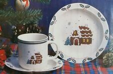 NIB 12 PC STONEWARE CHRISTMAS CUPS PLATE & SAUCER SET TREES GINGERBREAD HOUSES