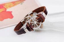 Unusual Slim Brown Leather Wrap Buckle Punk Rock Wristband Bracelet Cuff