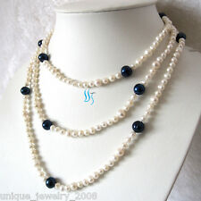 """54"""" 4-9mm White Navy Freshwater Pearl Necklace Strand Jewelry"""
