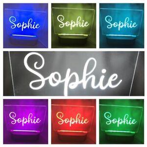 Personalised Name Night Light Battery LED Round Wood Base USB Decor Light Colour