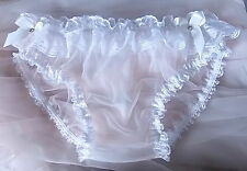M Mens full briefs sissy panties SHEER WHITE NYLON  frilly knickers cd tv AB