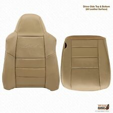 02 03 Ford Excursion 4x4 Diesel Driver Bottom-Lean Back LEATHER Seat Cover Tan