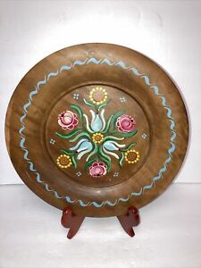 """Vintage Folk Art Hand Painted Floral Wooden Plate or Wall Plaque 10.5"""""""