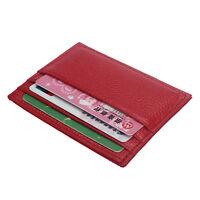 Black Slim Leather Credit Card Holder Case Mini Wallet ID Case Purse Bag Pouch