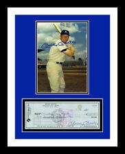 MICKEY MANTLE *SIGNED BANK CHECK* & PHOTO PRINT DISPLAY