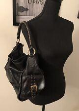 Women's HYPE Black Leather Hobo Style Handbag Purse