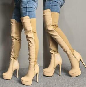 Stiletto Women Slim High Heel Platform Over Knee Thigh Boots Stretchy Size 35-47