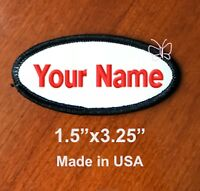 "Custom  Embroidered Patch Name Tag Motorcycle Biker Badge Oval 1.5""x3.25"""