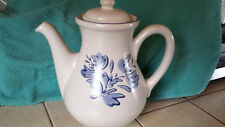 "Pfaltzgraff Yorktowne Coffee Pot / Lid Stoneware Blue Floral on White 9""  7 Cup"
