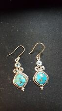 Shivam Made in India .925 Sterling Silver Turquoise + Blue Topaz Earrings - New