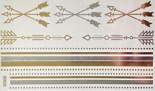 jetable Tatouage Temporaire Flash classique argent/doré 13teile bracelet collier
