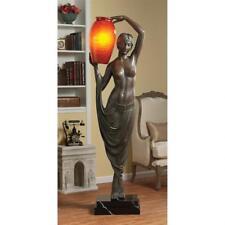"Exquisite Art Deco Goddess of Light Sculptural Resin 70"" Floor Lamp"