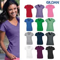 Gildan Softstyle Women's V-Neck T-Shirt 64V00L - Ladies Short Sleeve Cotton Top