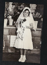Antique Photograph Young Girl in Church Wearing First Holy Communion Dress