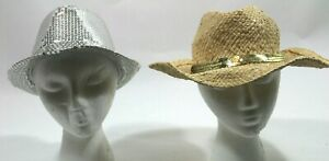 Set of 2 Hats Bebe Silver Sequin Straw Gold Beach NWT Fedora Cowboy Sparkle