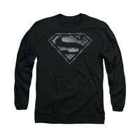 SUPERMAN BARBED WIRE Licensed Adult Men's Long Sleeve Graphic Tee Shirt SM-3XL