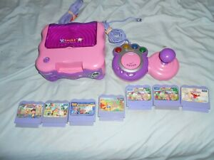 Vtech V.smile Tv Learning system pink & purple console + remote + 7 games
