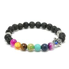 Chakra Bracelet HAMSA THIRD EYE 7 Gemstones with Black Lava Beads ZILA COMPANY