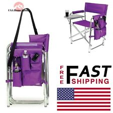 Purple Sports Portable Folding Patio Chair W/Armrest Outdoor Beach Game Chairs