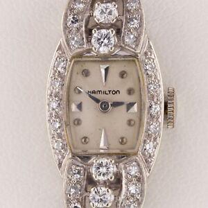 Hamilton Vintage 14k White Gold Women's Diamond Dress Watch