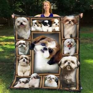 Shih Tzu dog Blanket, animal blankets, blanket gift, Fleece, Quilt blankets USA