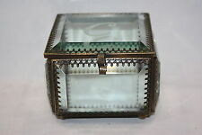 ANTIQUE ORMOLU AND BEVELED GLASS TRINKET JEWELRY BOX MONOGRAMMED C ETCHED TOP 3