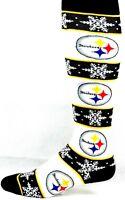 Pittsburgh Steelers Christmas Winter Snowflake Striped Thin Dress Crew Socks