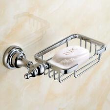 Polished Chrome Brass Wall Mounted Bathroom Soap Dish Holder Basket Shelf sba909