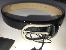 NWT GIORGIO ARMANI COLLEZIONI belt croc black leather one-size $275 men's